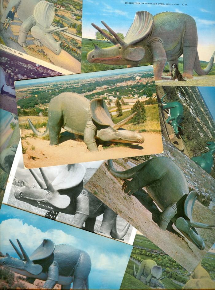 Dinosaur Park Triceratops postcards