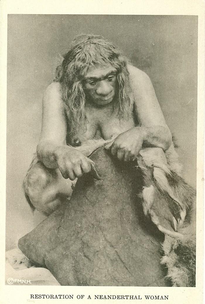 Neanderthal woman.postcard