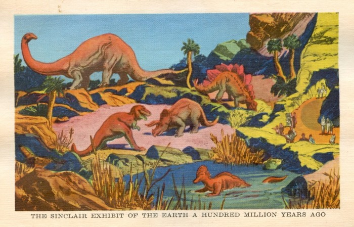 Sinclair dinosaurs postcard