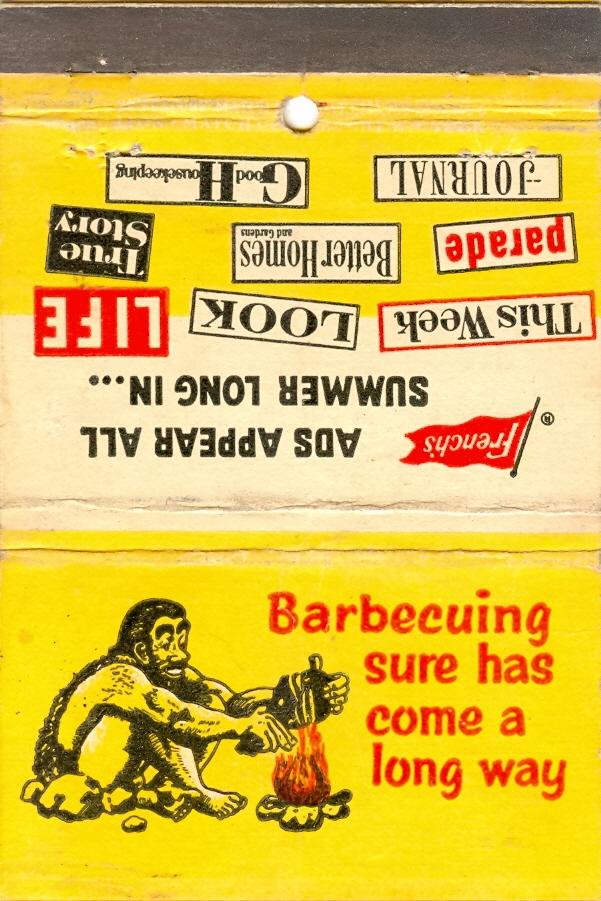 caveman barbecue matchbook
