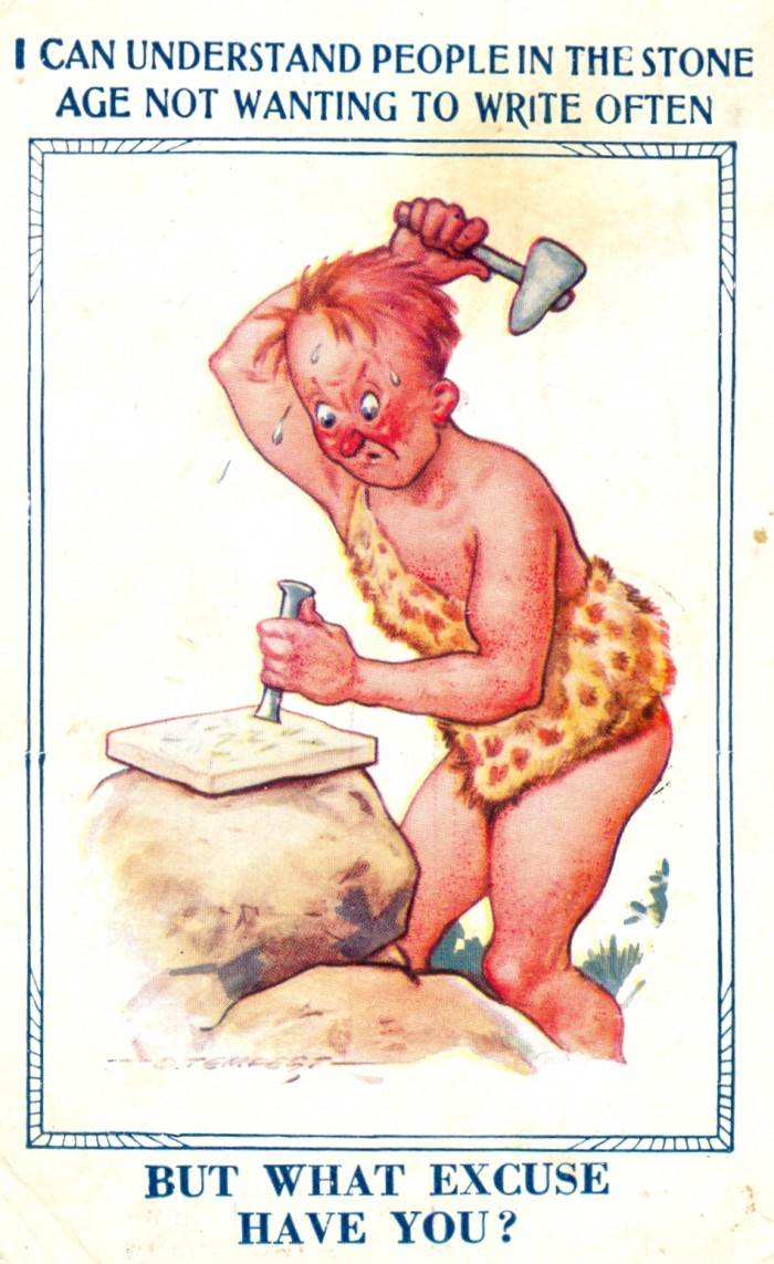 caveman postal card