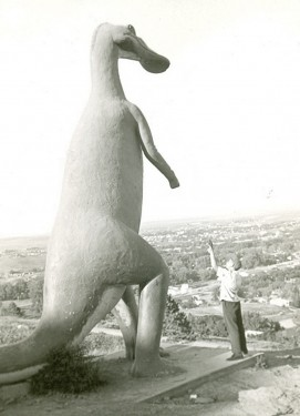 Duckbilled dinosauir statue