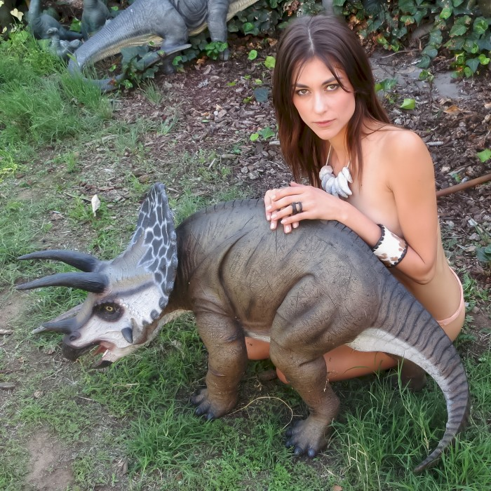 small Triceratops garden statue